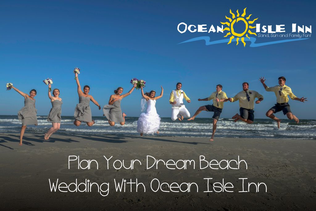 shot of a beach wedding on Ocean Isle Beach in North Carolina